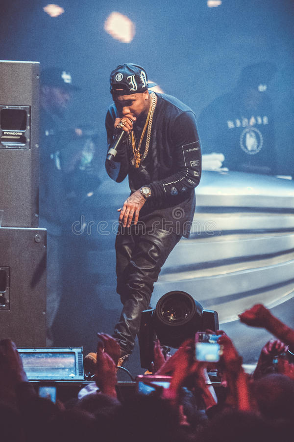Tyga performing in Moscow, Russia stock photo