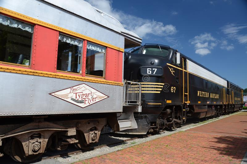 Tygart Flyer Carriage and Locomotive. The Tygart Flyer is an excursion train that takes tourists to the High Falls of Cheat stock image