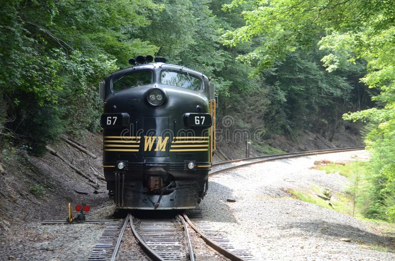 Tygart Flyer Diesel Locomotive. The Tygart Flyer is an excursion train that takes tourists to the High Falls of Cheat stock photo