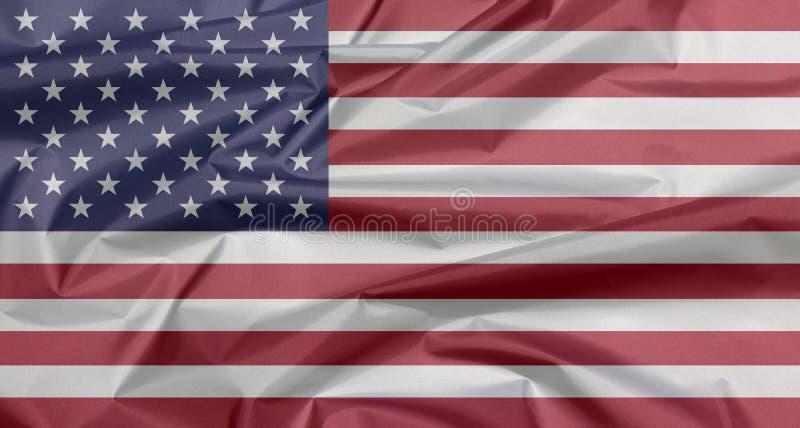 Tygflagga av Amerikas förenta stater Veck av USA flaggabakgrund stock illustrationer