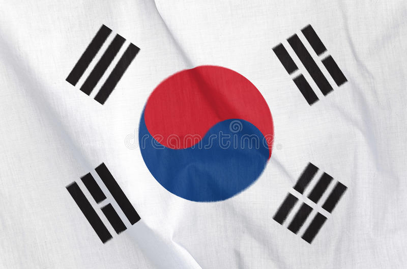 Tygflagga av Sydkorea royaltyfri foto