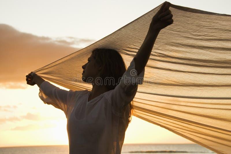 tygholdingkvinna royaltyfria foton