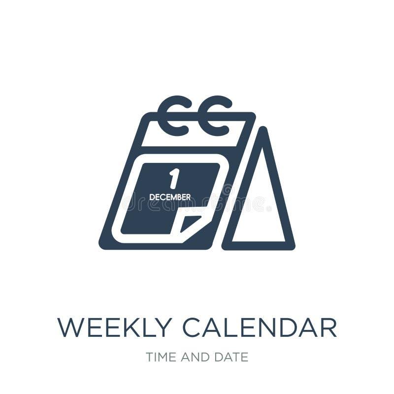 tygodniowego kalendarza ikona w modnym projekta stylu Tygodniowego kalendarza ikona odizolowywająca na białym tle tygodniowego ka royalty ilustracja