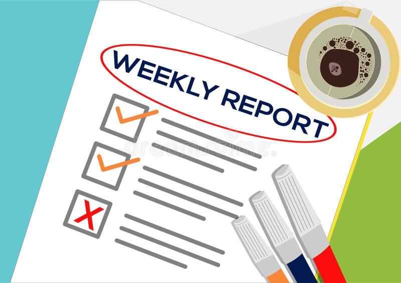 Tygodniowego raportu lub planowania ikony pojęcie Jeden zadanie nie udać się Papier ciąć na arkusze z czek ocenami, abstrakcjonis ilustracja wektor