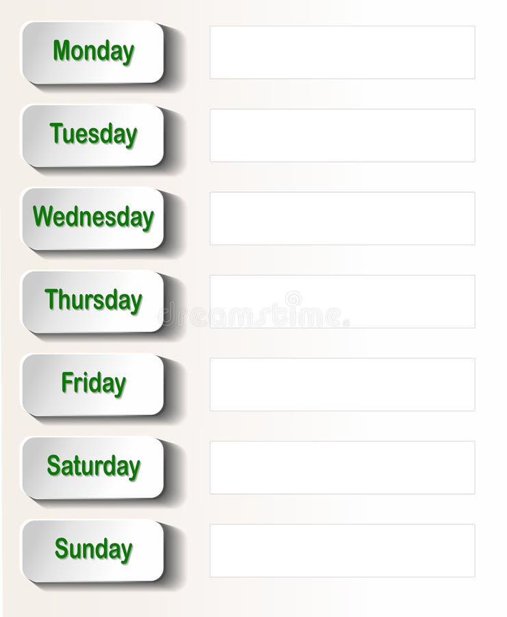 Tygodniowy kalendarz royalty ilustracja