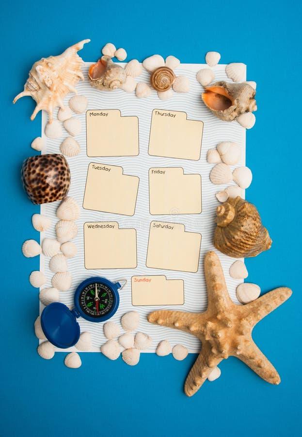 Tygodniowy kalendarz w morskim stylu fotografia stock