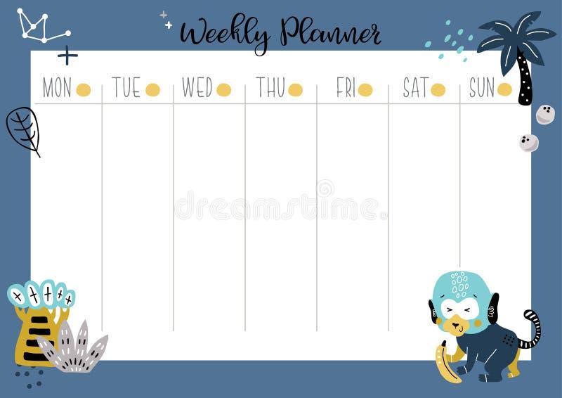 Tygodniowy organizatora planista z małpą ilustracja wektor