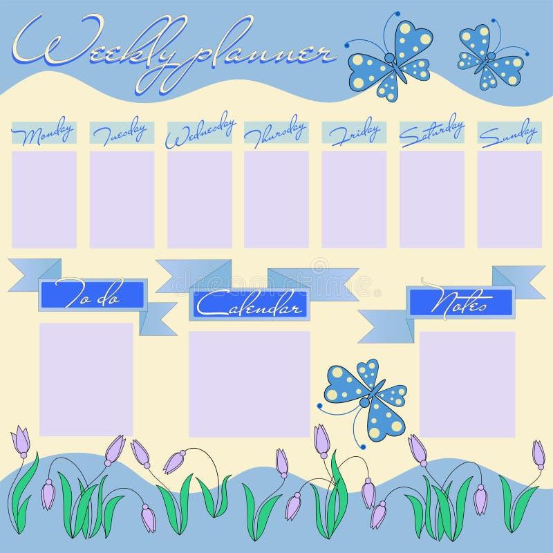 Tygodniowy planista dla dziewczyny z kwiatami i motylami ilustracji