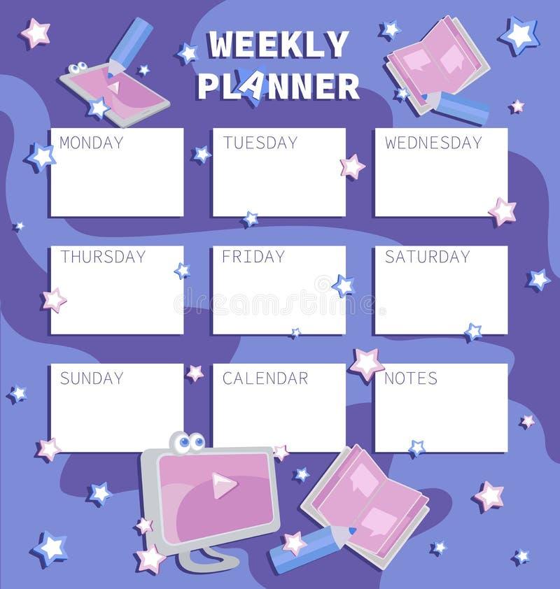 Tygodniowy planista rozkład ilustracja wektor