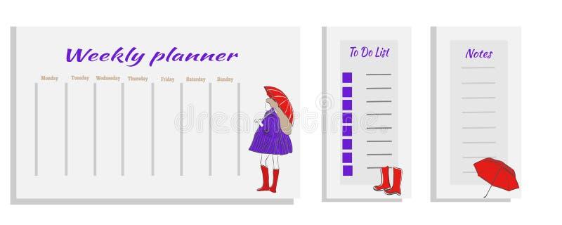 Tygodniowy planisty szablonu pojęcie z dziewczyną z parasolem ilustracja wektor