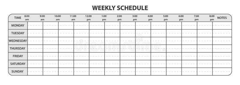 Tygodniowy rozkład z godzinami pracującymi i ekstra przestrzeń dla notatek ilustracji