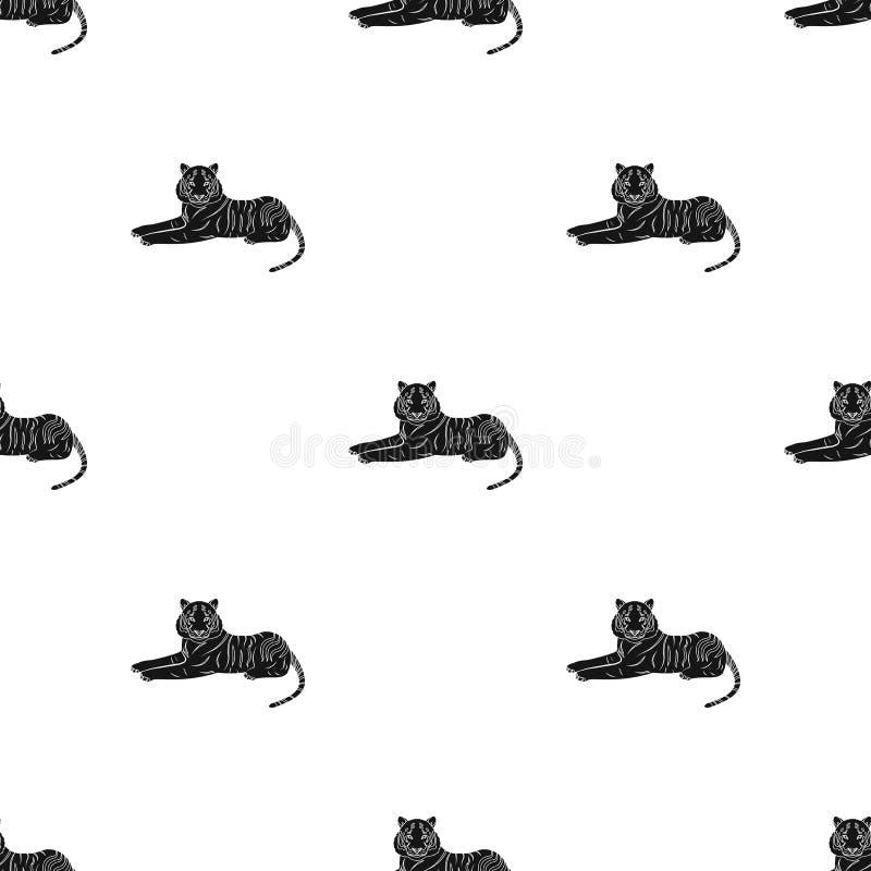 Tygrys, drapieżczy zwierzę Belgijski tygrys, wielkiego dzikiego kota pojedyncza ikona w czerń stylu symbolu wektorowym zapasie royalty ilustracja