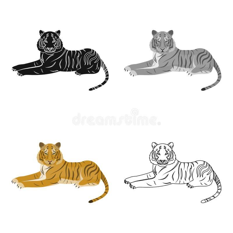 Tygrys, drapieżczy zwierzę Belgijski tygrys, wielkiego dzikiego kota pojedyncza ikona w kreskówka stylu symbolu wektorowym zapasi royalty ilustracja