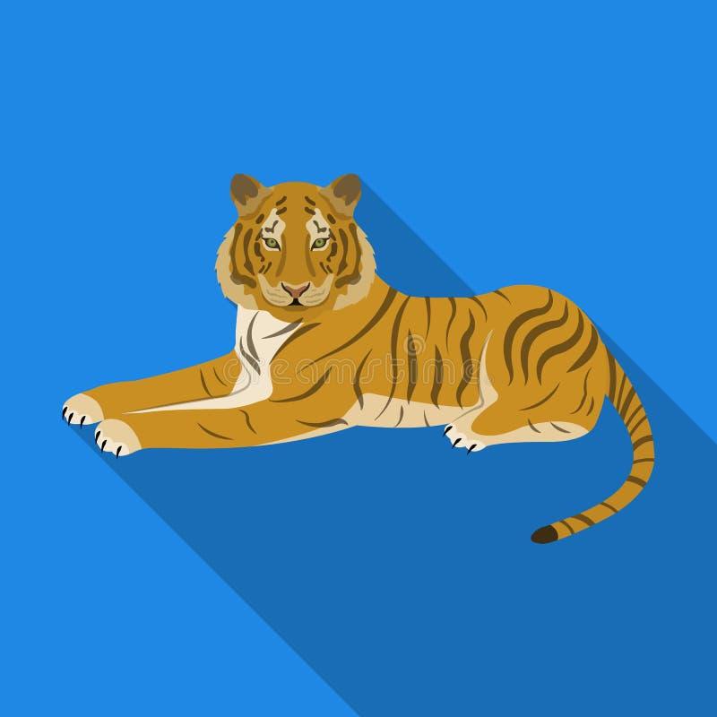 Tygrys, drapieżczy zwierzę Belgijski tygrys, wielkiego dzikiego kota pojedyncza ikona w mieszkanie stylu symbolu wektorowym zapas ilustracji