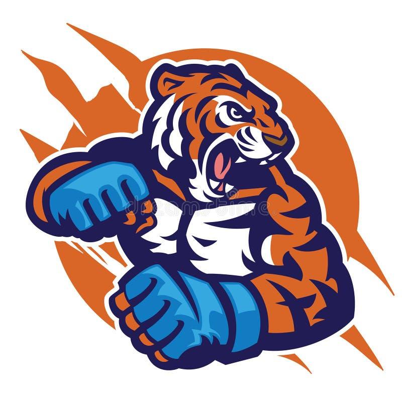 Tygrys głowa MMA wojownik royalty ilustracja