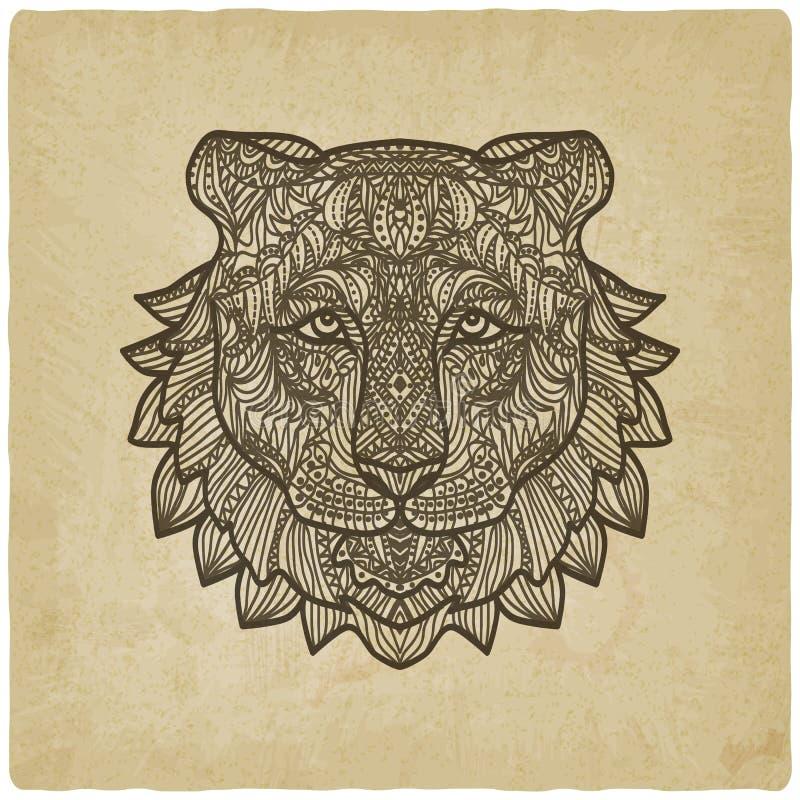 Tygrys głowa na grunge tle royalty ilustracja