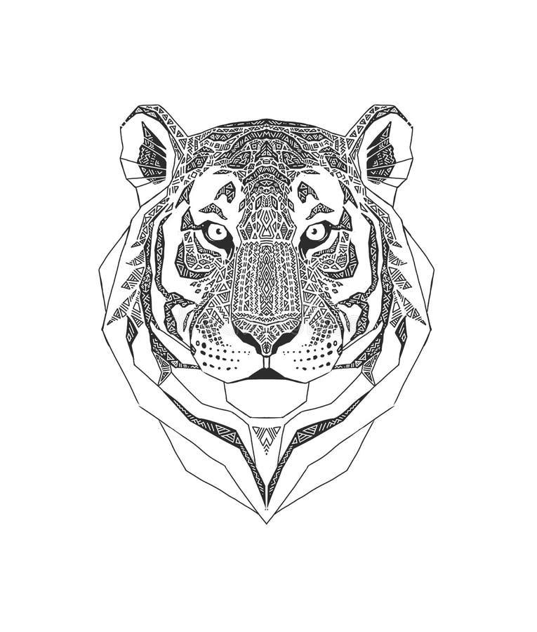 Tygrys głowa odizolowywająca na białym tle , dzikie zwierzę stylizował portret Zentangle inspirował plemiennego styl Czerń i royalty ilustracja