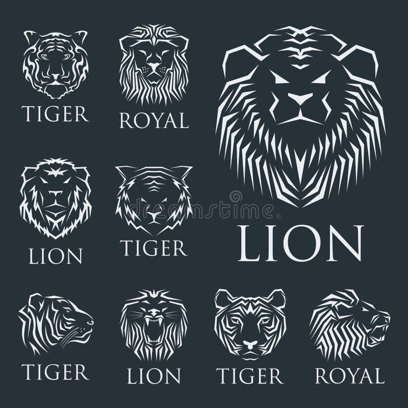 Tygrys kierownicza królewska odznaka z piękna zwierzęca wektorowa ręka rysującą lew twarzy ilustracją royalty ilustracja