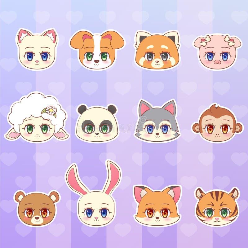 Tygrys, małpa, niedźwiedź, panda, czerwień, cakiel, pies, szczeniak, kot, figlarka, baranek, świnia, wilk, lis, królika majcheru  ilustracji