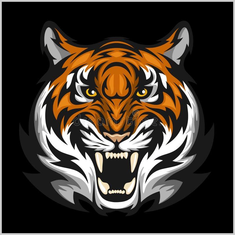 Tygrys twarz Wektorowa ilustracja tygrysia głowa ilustracji