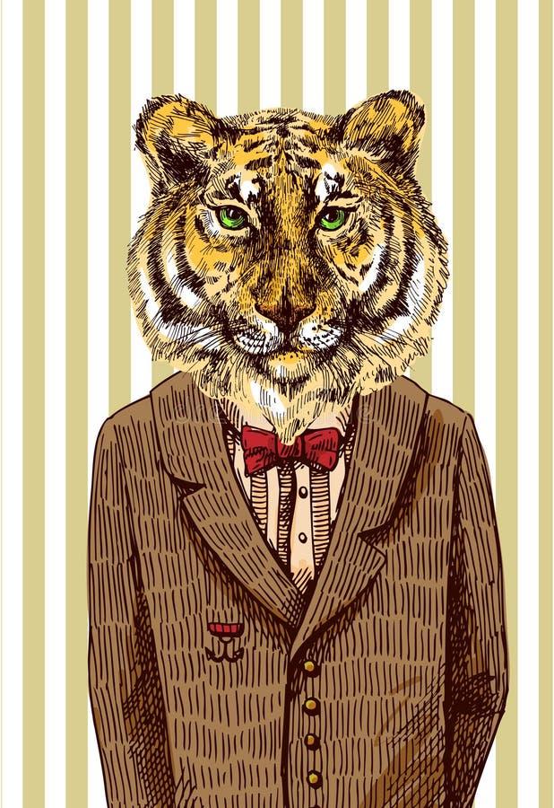 Tygrys w kurtce ilustracja wektor