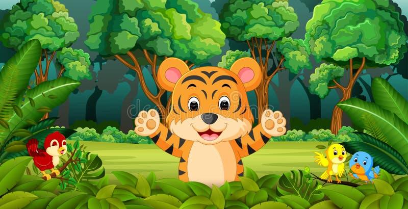 Tygrys w lesie royalty ilustracja