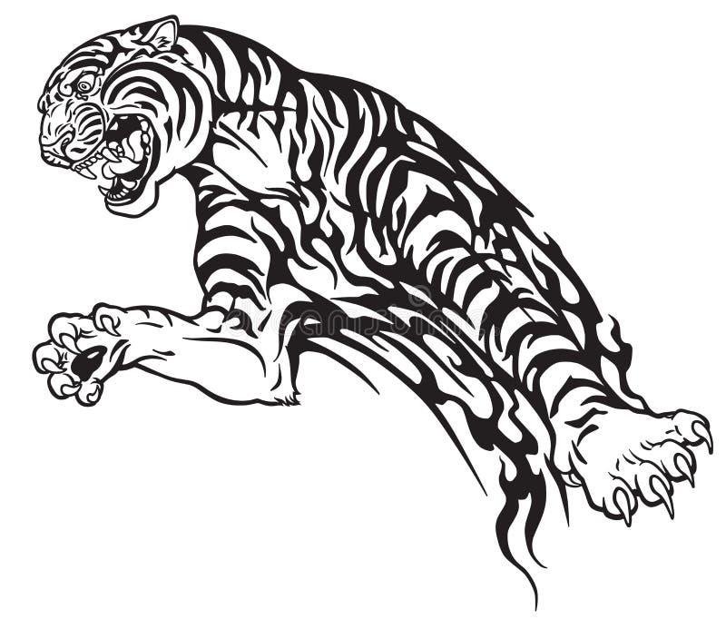 Tygrys w skoku plemiennym tatuażu ilustracja wektor