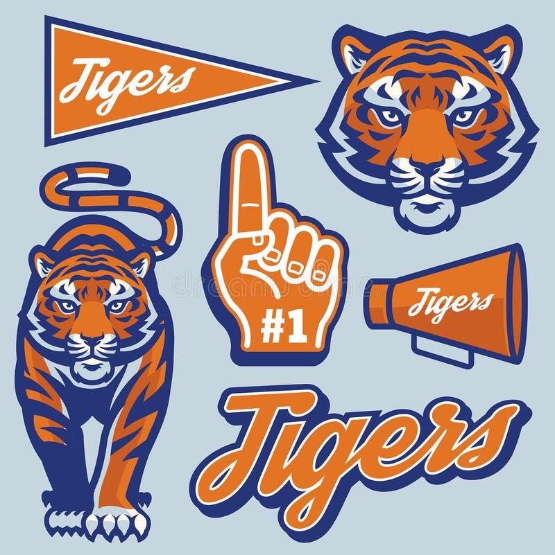 Tygrys w sport maskotki stylu secie royalty ilustracja