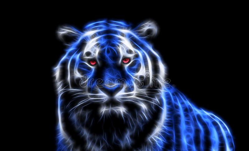 Tygrys z czerwonymi oczami ilustracji