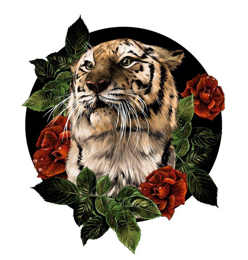 Tygrysa kierowniczy skład kwiaty i rośliny otaczający różanymi krzakami royalty ilustracja