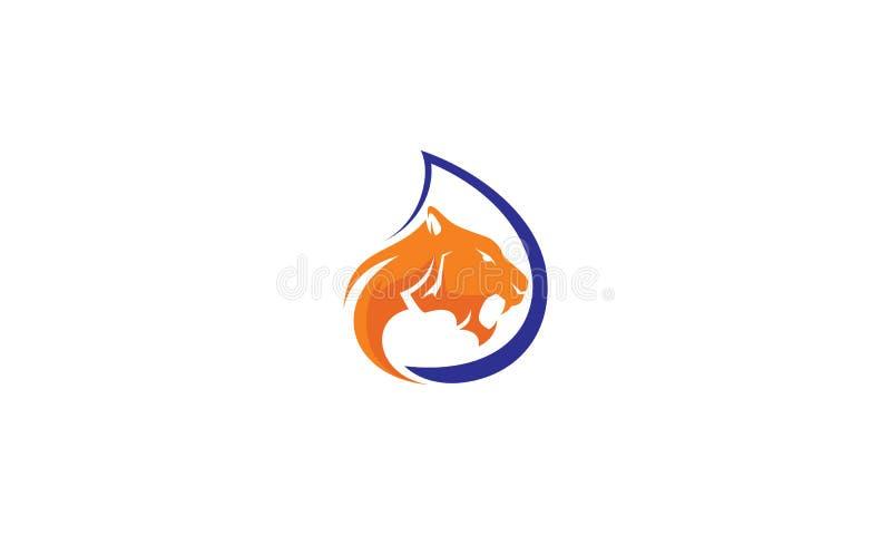 Tygrysa loga wektoru wodna ikona ilustracja wektor