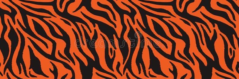 Tygrysa lub zebry futerkowa wielostrzałowa tekstura Zwierzęcej skóry lampasy, dżungli tapety wektor bezszwowy wzoru royalty ilustracja