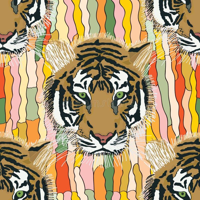 Tygrysi chłodno bezszwowy wzór royalty ilustracja