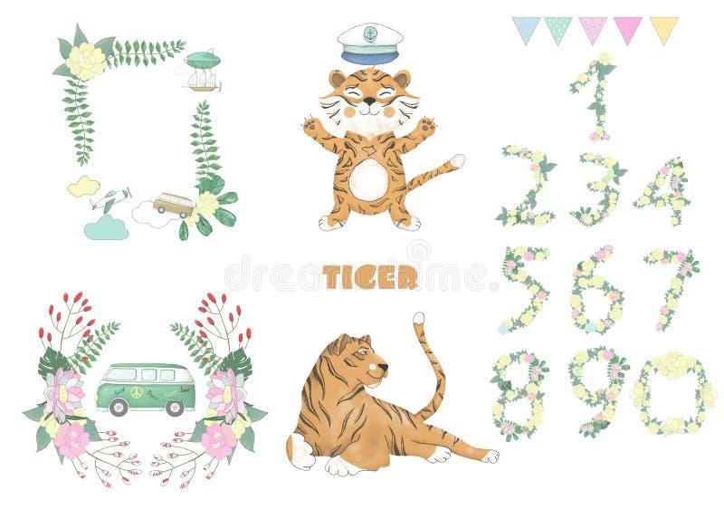 Tygrysi cyfrowy klamerki sztuki śliczny zwierzę i kwiaty dla karty, plakaty, na białym tle dla świętowania ilustracja wektor