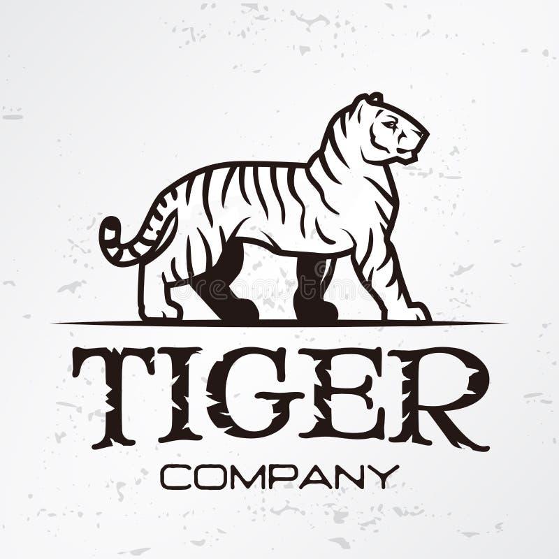 Tygrysi loga emblemata szablon Gatunek maskotki symbol dla biznesu lub koszula Wektorowy rocznika projekta element ilustracja wektor