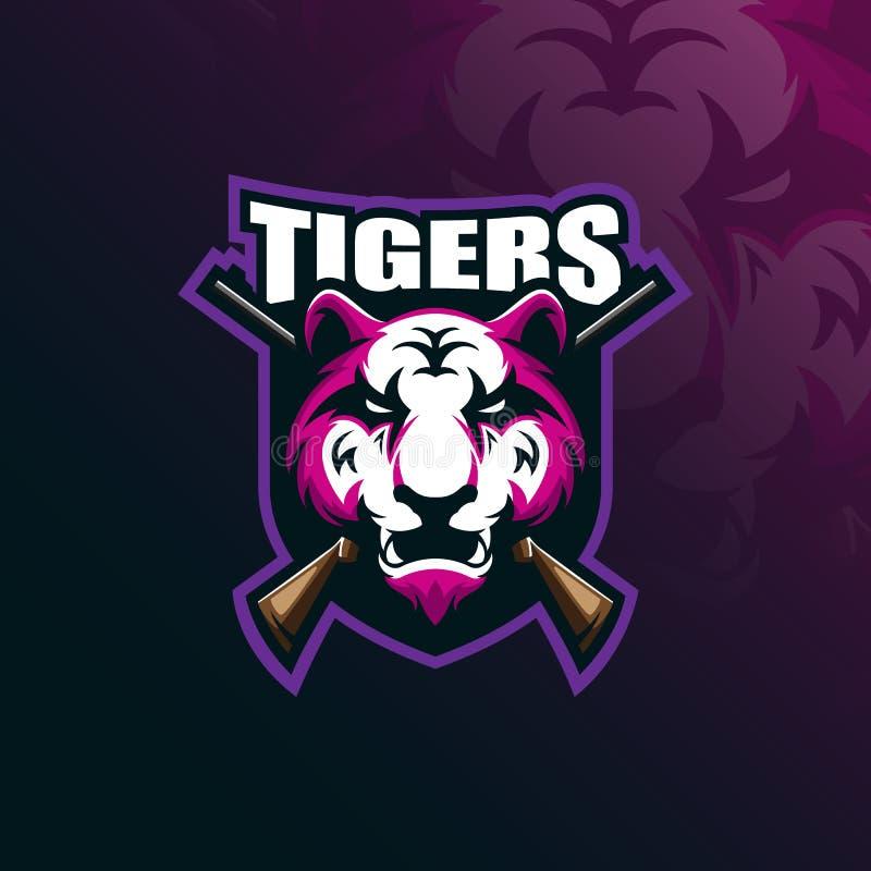 Tygrysi maskotka logo projekta wektor z nowożytnym ilustracyjnym pojęcie stylem dla odznaki, emblemata i tshirt druku, (1) 2 gnie ilustracja wektor
