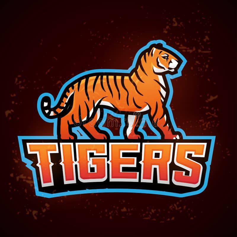 Tygrysi maskotka wektor Sporta loga projekta szablon Futbolu lub baseballa ilustracja Szkoły wyższa ligowa insygnia, szkoły druży royalty ilustracja