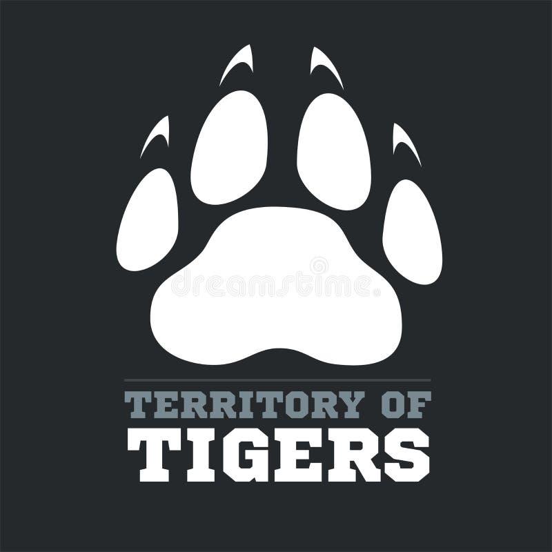 Tygrysi odcisk stopy na ciemnym tle - wektor ilustracja wektor