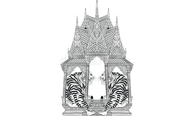 Tygrysi Tajlandzki tradycja obraz, Tajlandzki tatuaż, wektor ilustracja wektor