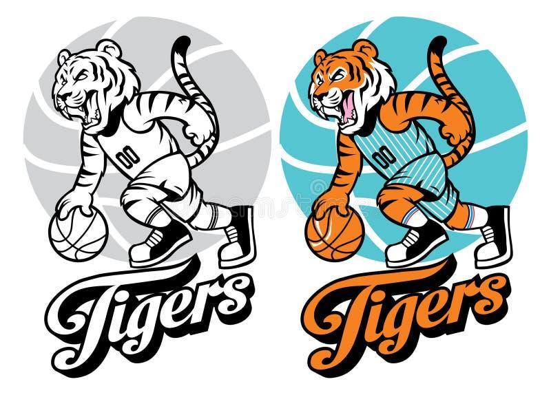 Tygrysia koszykówki maskotka ilustracji