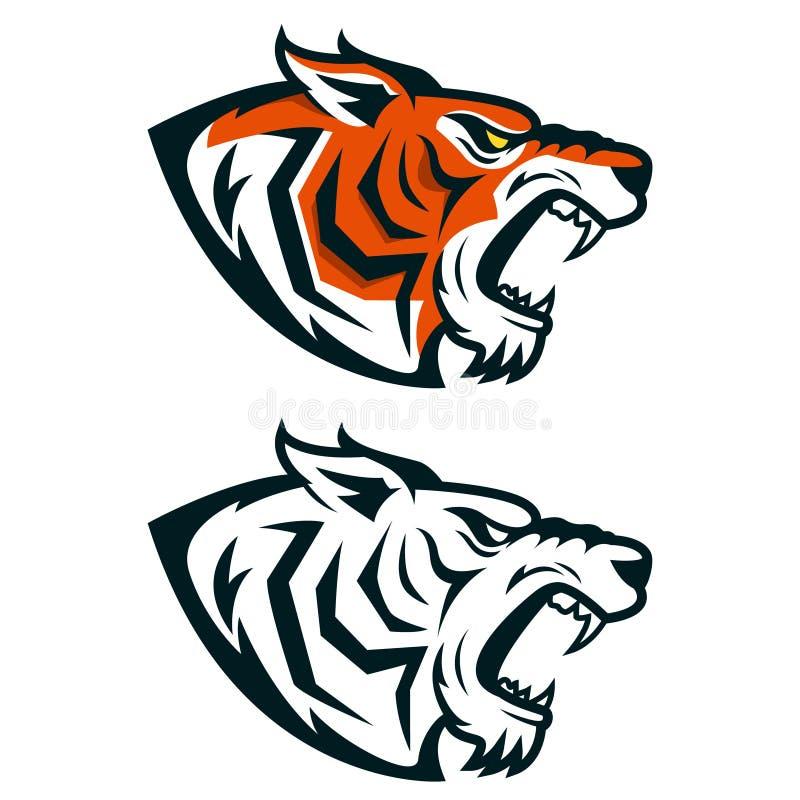 Tygrysia maskotka Głowa odizolowywająca na białym tle gniewny tygrys ilustracja wektor