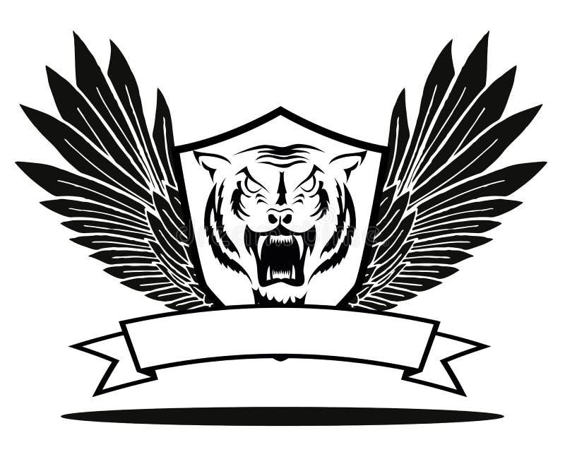 Tygrysia odznaka z skrzydłami royalty ilustracja