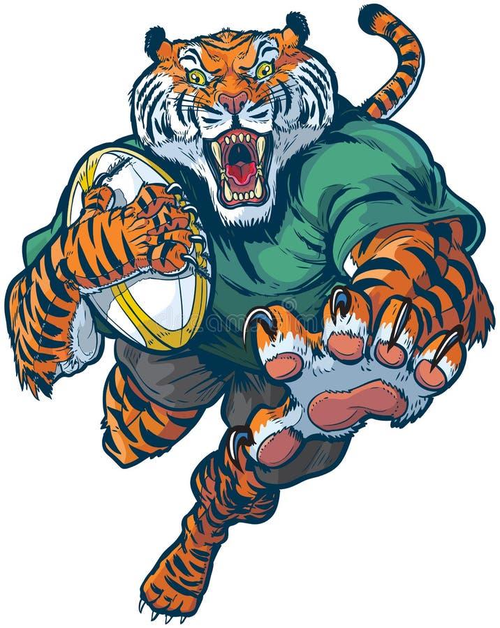 Tygrysia rugby maskotki wektoru ilustracja ilustracja wektor