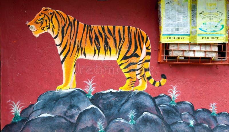 Tygrysia sztuka na ścianie Warli świątynia, Mumbai obrazy royalty free