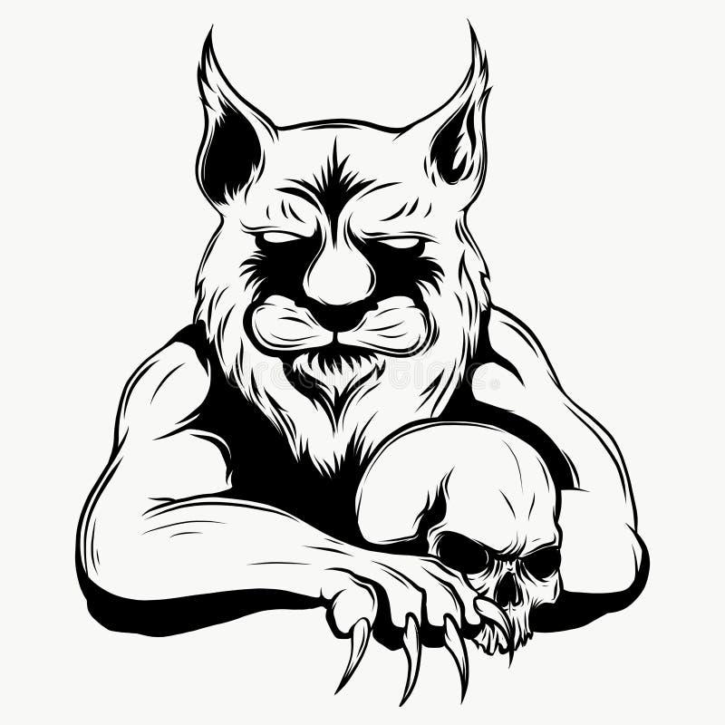 Tygrysia złość Wektorowa ilustracja tygrysia głowa royalty ilustracja