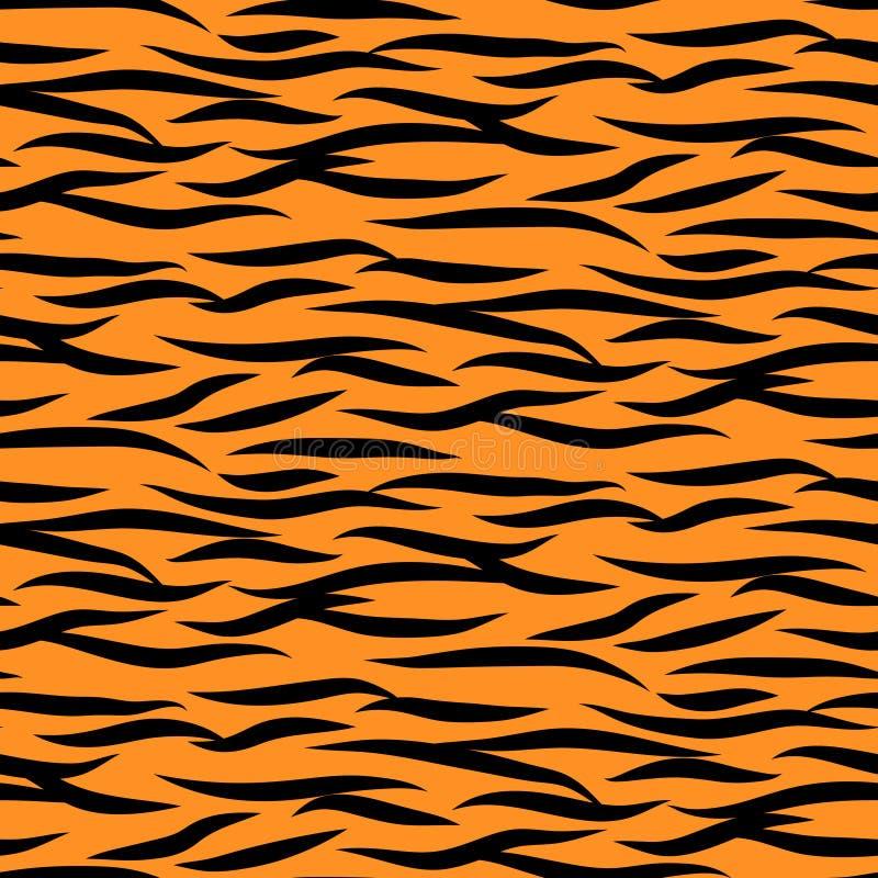Tygrysich lampasów wektoru bezszwowego wzoru czarny i pomarańczowy tło druk ilustracja wektor