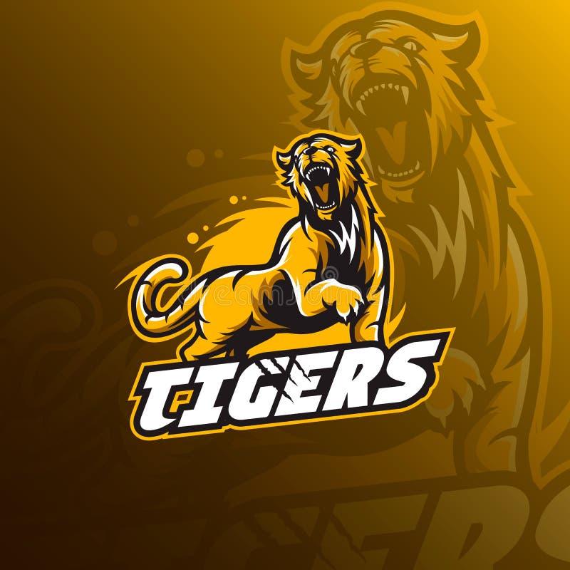Tygrysiego maskotka logo sporta wektorowa ilustracja, odznaka i emblemat, royalty ilustracja