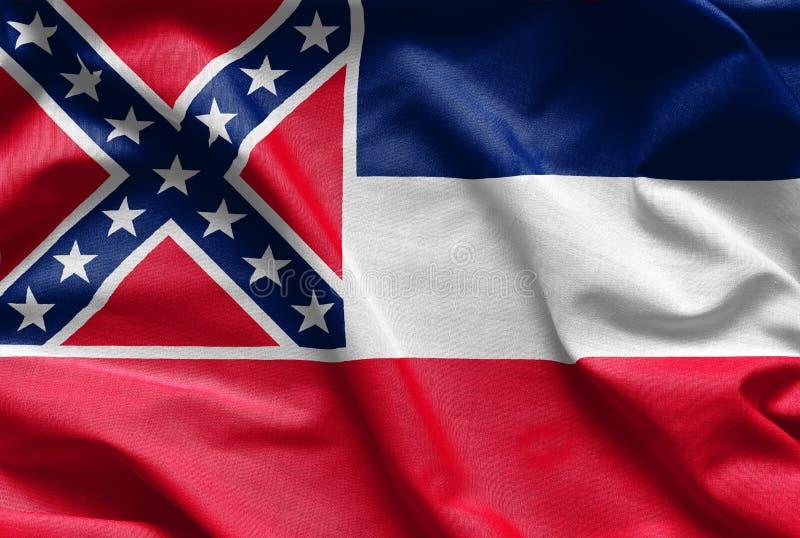 Tygtextur av den Mississippi flaggan - flaggor från USA arkivbilder