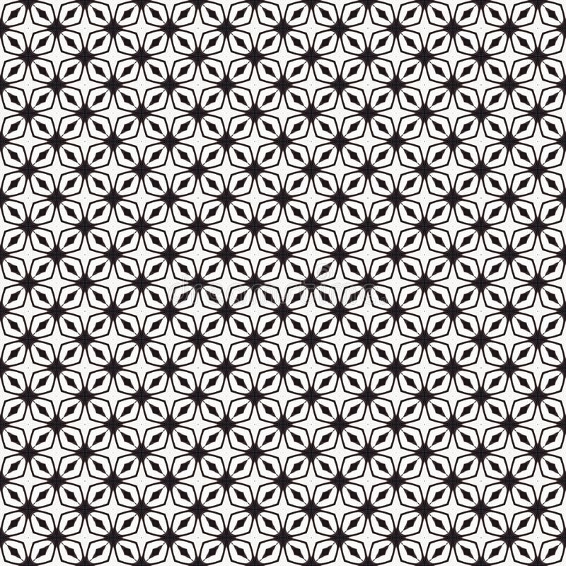 Tygtryck Geometrisk modell i repetition Sömlös bakgrund, mosaikprydnad, etnisk stil stock illustrationer