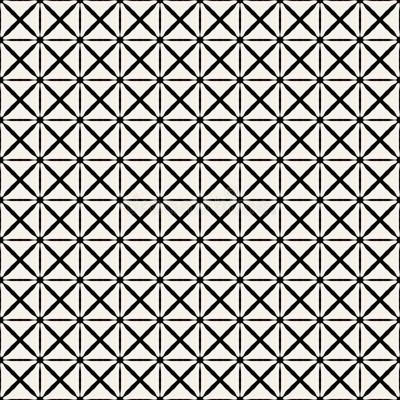 Tygtryck Geometrisk modell i repetition Sömlös bakgrund, mosaikprydnad, etnisk stil Två färgar royaltyfri illustrationer